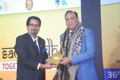 Felicitating Shri V.K. Bhandari, CMD Supertron Electronics