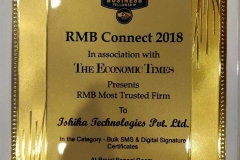 Award - most trusted firm in bulk sms and digital signature certificate category by RMB & The Economic Times
